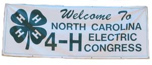 The banner that greets 4-h'er as they arrive at Electric Congress days each year. It says Welcome to North Carolina 4-H Electric Congress.