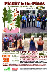 Cover photo for Pickin' in the Pines – A Bluegrass & BBQ Benefit Concert for Millstone 4H Camp