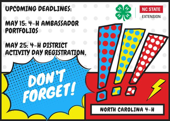 Upcoming deadlines for ambassador portfolio and 4-h presentations