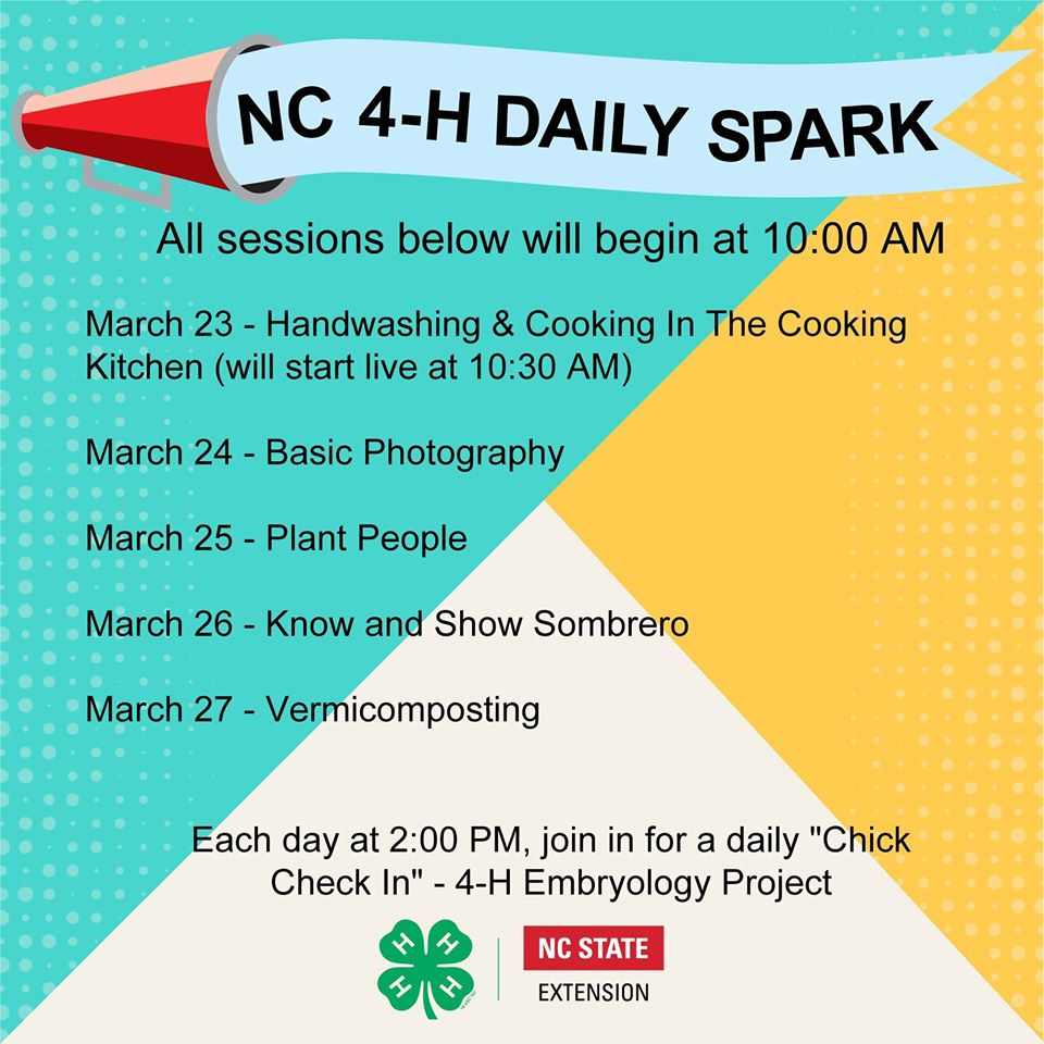 NC 4-H Daily Spark Schedule