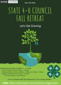 State 4-H Council Fall Retreat flyer
