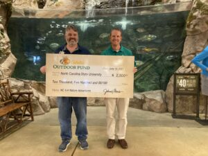 Two men holding big check